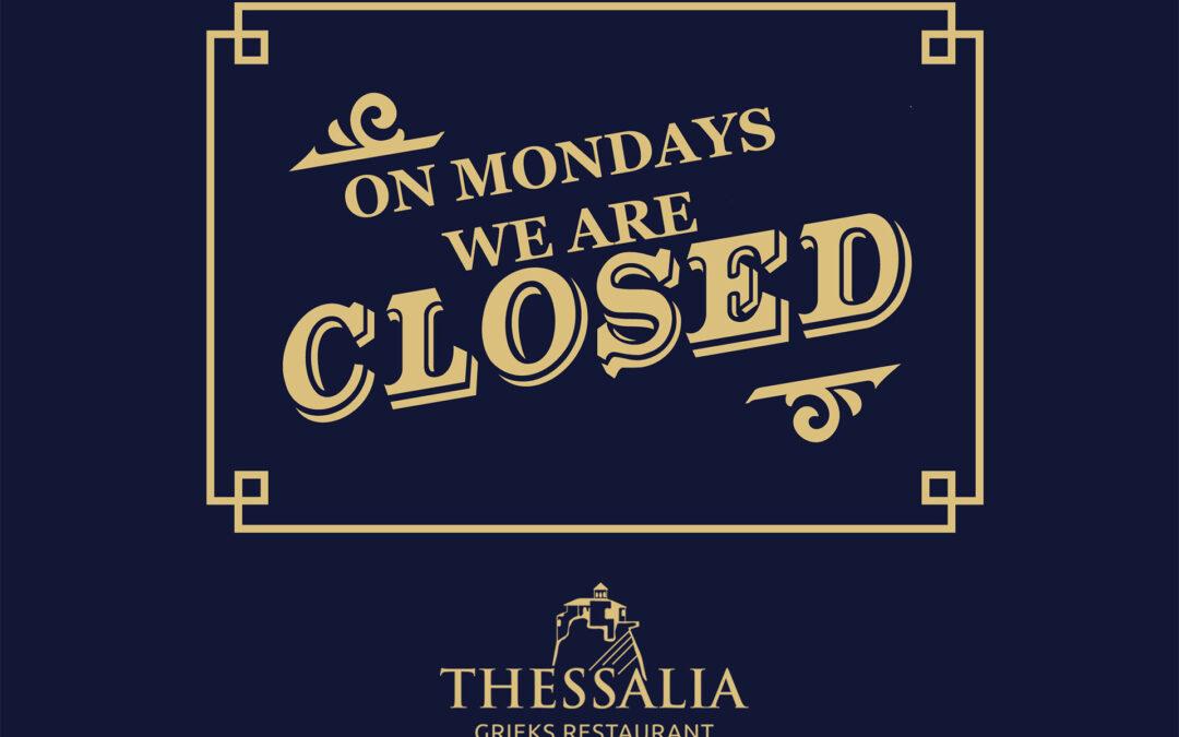 Maandagen gesloten